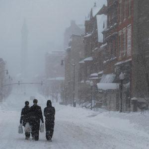 People walking in snow storm